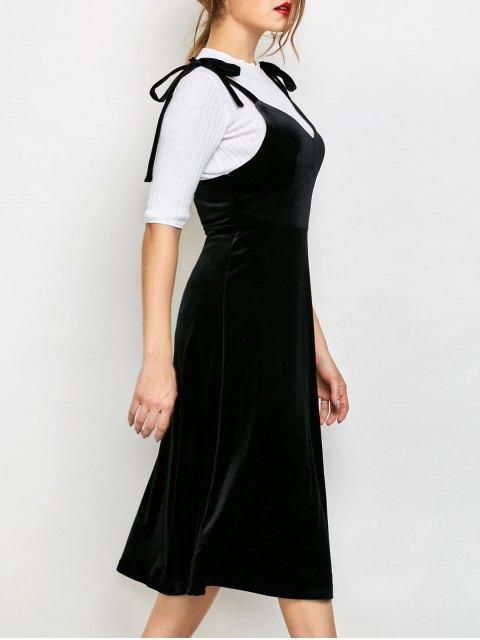 sale Shoulder Tie Velvet Pinafore Dress - BLACK L Mobile