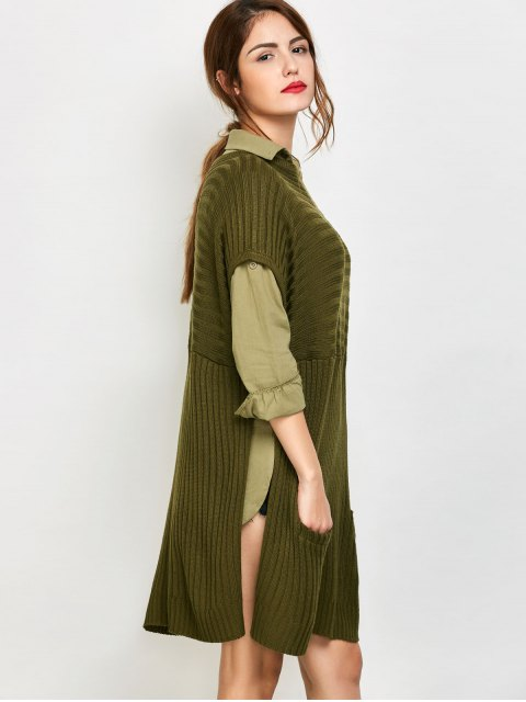 sale Side Slit Oversized Sweater With Pockets - ARMY GREEN S Mobile