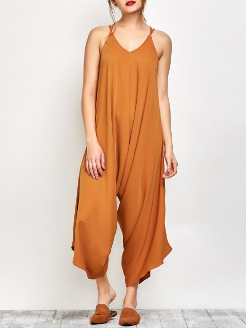 best Crosscriss Asymmetric Chiffon Jumpsuit - GINGER 2XL Mobile