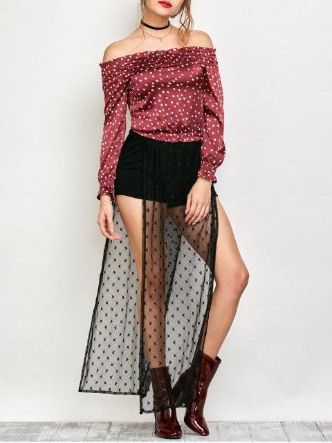 womens Chiffon Off Shoulder Printing Blouse - CLARET 2XL Mobile
