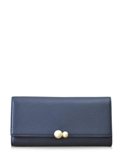 fashion Textured Tri Fold Clutch Wallet - BLACK  Mobile