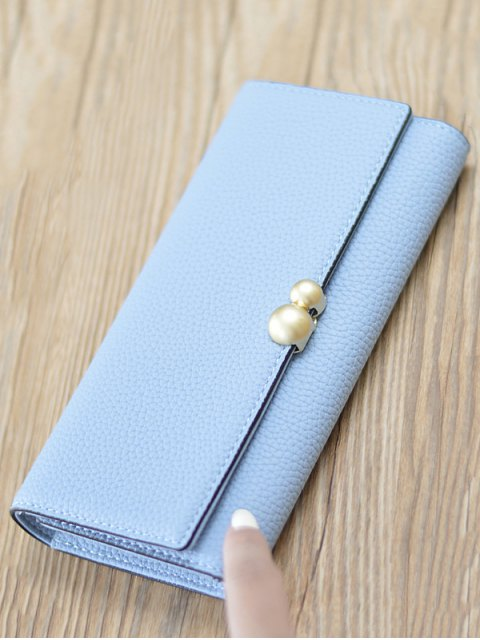 trendy Textured Tri Fold Clutch Wallet - LIGHT BLUE  Mobile