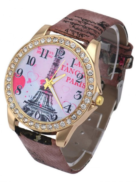 chic Faux Leather Band Eiffel Tower Quartz Watch - BROWN  Mobile