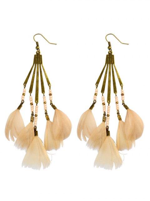 women Beads Feather Bohemian Earrings -   Mobile