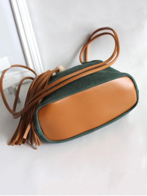 unique Tassel Wood Bead Shoulder Bag - GREEN  Mobile