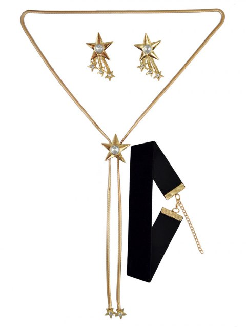 outfits Star Rhinestone Choker Necklace and Earrings - GOLDEN  Mobile