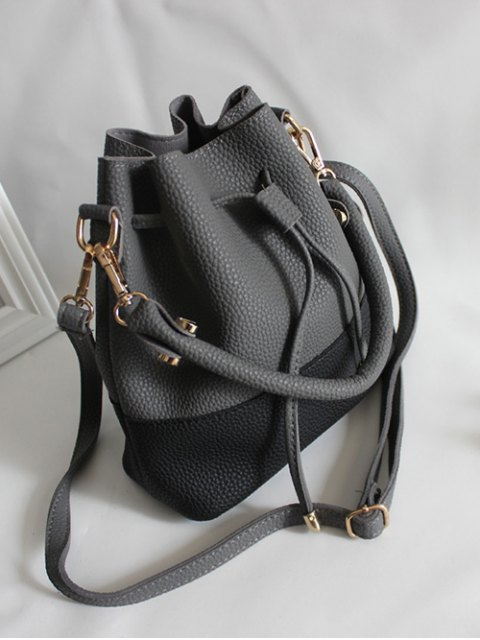 womens Faux Leather Color Block Bucket Bag - DEEP GRAY  Mobile
