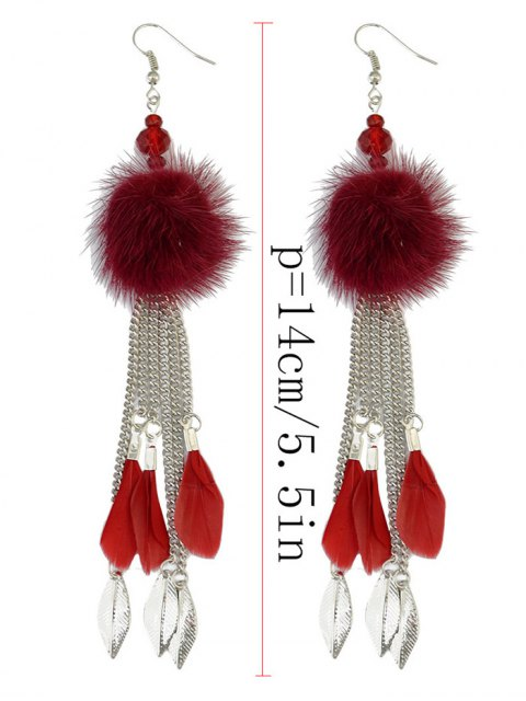 ladies Feather Fuzzy Ball Drop Earrings -   Mobile