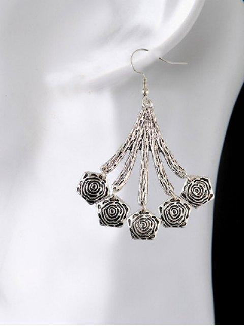 new Vintage Floral Geometric Drop Earrings - SILVER  Mobile