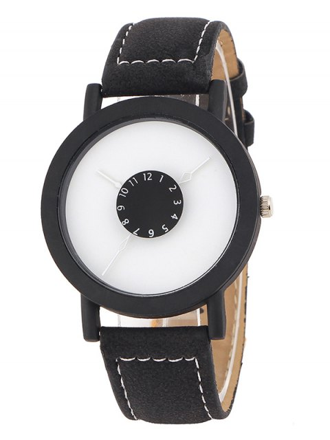 latest Faux Leather Band Analog Quartz Watch - BLACK  Mobile