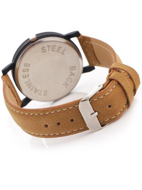 fashion Faux Leather Band Analog Quartz Watch - BROWN  Mobile