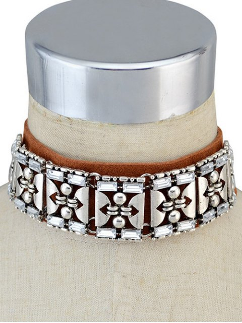 latest Faux Leather Rhinestone Vintage Choker Necklace - BROWN  Mobile