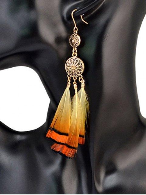 hot Rhinestone Flower Feather Bohemian Drop Earrings - GOLDEN  Mobile
