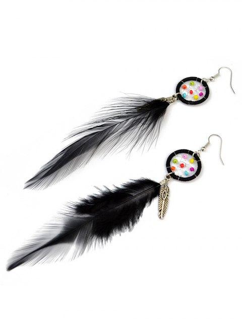shops Feather Adorn Bohemian Drop Earrings - BLACK  Mobile