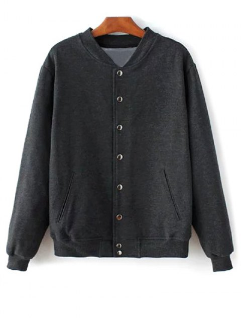 chic Button Up Baseball Jacket - DEEP GRAY S Mobile