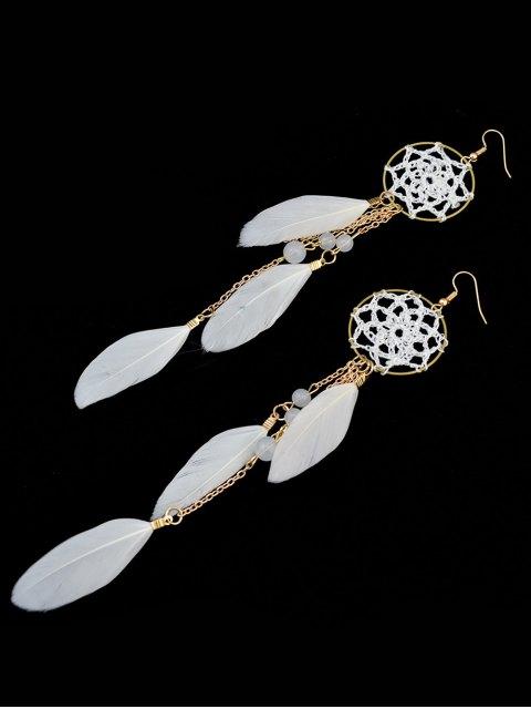 trendy Beads Feather Bohemian Drop Earrings -   Mobile