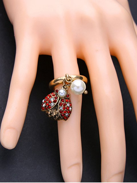 fancy Rhinestone Faux Pearl Insect Ring - GOLDEN ONE-SIZE Mobile