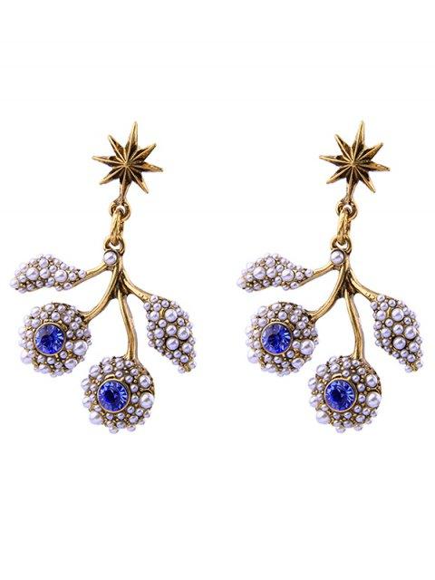 latest Faux Pearl Rhinestone Hexagram Drop Earrings - BLUE  Mobile