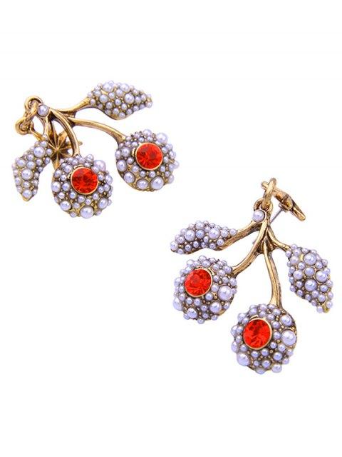 trendy Faux Pearl Rhinestone Hexagram Drop Earrings - RED  Mobile