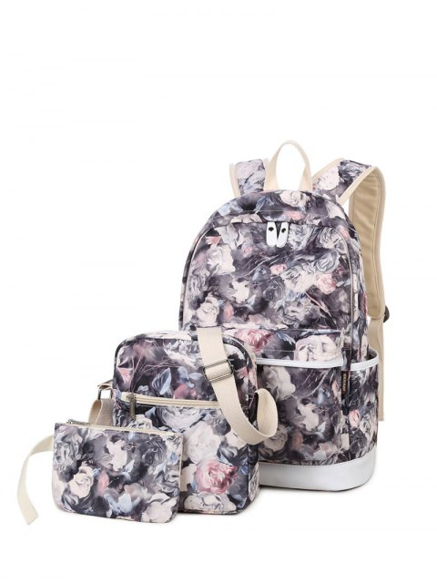 new 3 Pcs Flower Printed Backpack Set - GRAY  Mobile