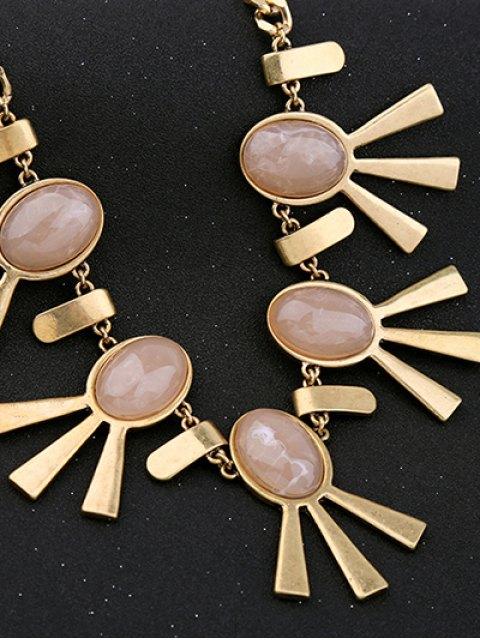 latest Artificial Gem Oval Adorn Vintage Necklace - PINK  Mobile