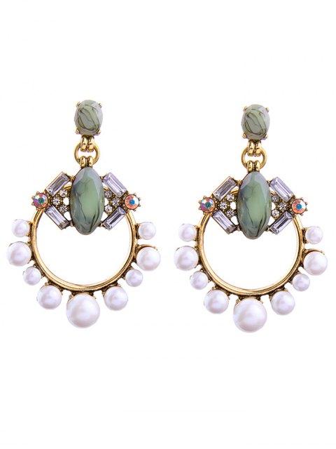 fancy Faux Pearl Gem Circle Drop Earrings - WHITE  Mobile