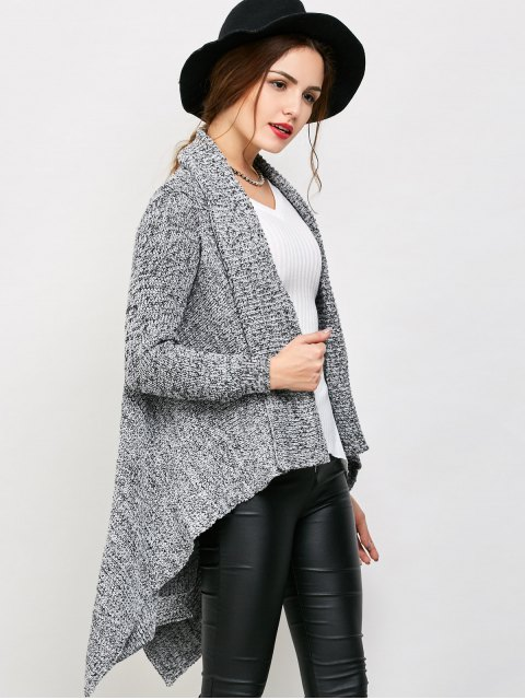 chic Drape Long Chunky Cardigan - GRAY ONE SIZE Mobile