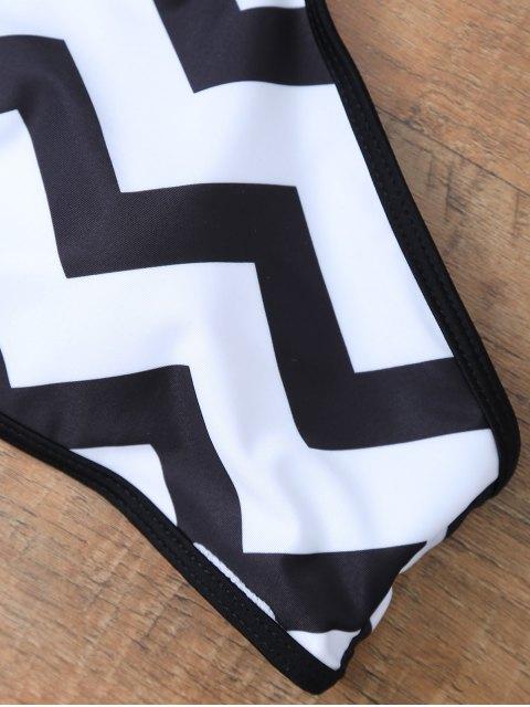 shop Chevron Stripe Halter Bikini - WHITE AND BLACK M Mobile