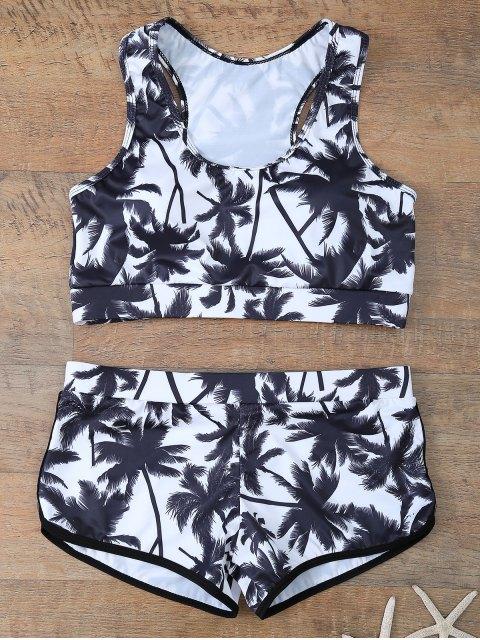 latest Palm Tree Print Boyshort Bikini - WHITE AND BLACK L Mobile