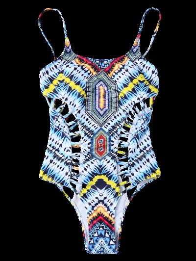 Patternd Cut Out One Piece Swimwear - COLORMIX L Mobile