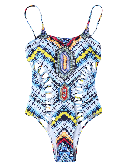 Patternd Cut Out One Piece Swimwear - COLORMIX S Mobile