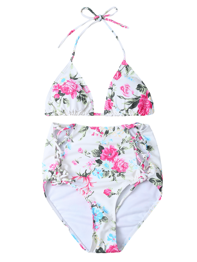 Floral Print High Waisted Bikini Set - FLORAL L Mobile