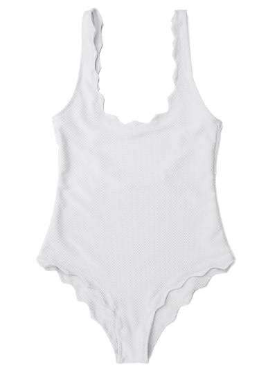 Low Back Scalloped One Piece Swimwear - WHITE L Mobile