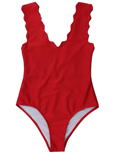 V Neck Scalloped One Piece Tankini - Deep Red