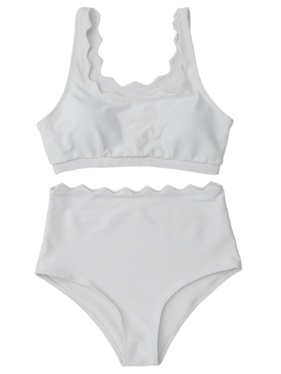 Scalloped U Neck High Waist Bikini Set - WHITE M Mobile