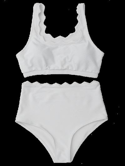 Scalloped U Neck High Waist Bikini Set - WHITE S Mobile
