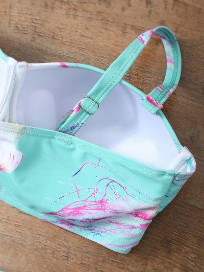 Push Up Printed Flounced Bikini Set - LIGHT BLUE 2XL Mobile