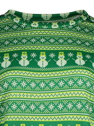 Snowman Patterned Sweatshirt - GREEN L Mobile