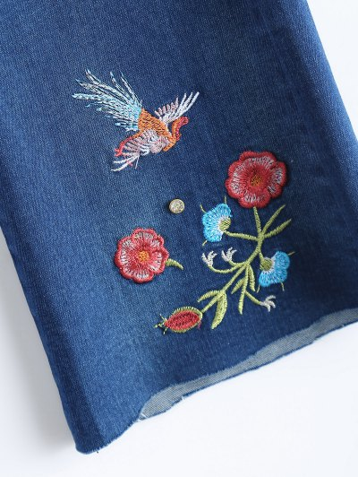 Zip Fly Flower Embroidered Jeans - DENIM BLUE XL Mobile