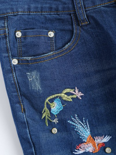 Zip Fly Flower Embroidered Jeans - DENIM BLUE L Mobile