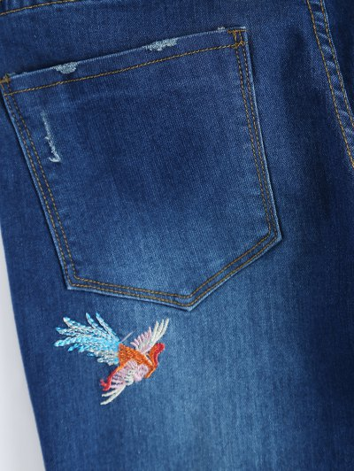 Zip Fly Flower Embroidered Jeans - DENIM BLUE M Mobile