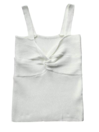 Front Twist Ribbed Tank Knitwear - WHITE ONE SIZE Mobile