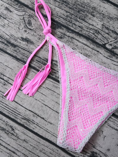 Tassel String Lace Thong Bikini - PINK S Mobile