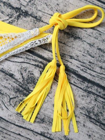 Tassel String Lace Thong Bikini - YELLOW L Mobile