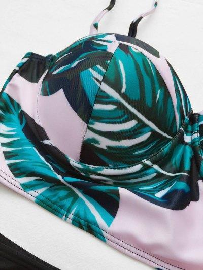 Push Up Tropical Print Bikini Set - BLACK L Mobile