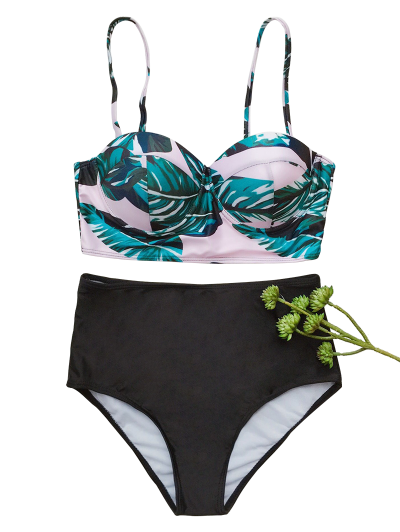 Push Up Tropical Print Bikini Set - BLACK S Mobile