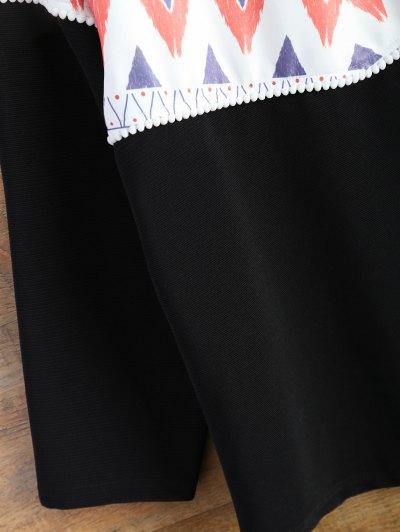 Oversized Geometric Print T-Shirt - BLACK M Mobile
