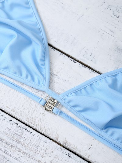 Unlined Strappy Plunge Bikini Set - LIGHT BLUE M Mobile