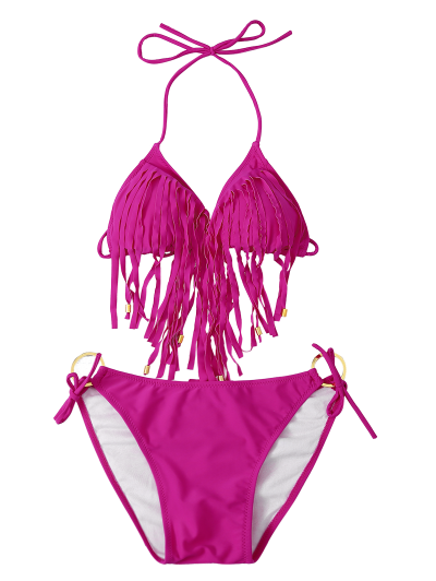 Fringed Halter Side Knot Bikini Set - TUTTI FRUTTI L Mobile