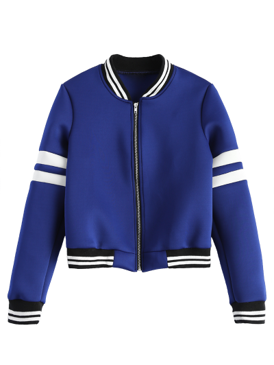 Striped Sleeve Bomber Jacket - BLUE XL Mobile